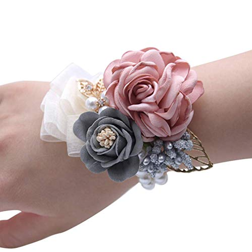 Teensery Wedding Bride Wrist Corsage Bridesmaid Wrist Flower Artificial Rose Faux Pearl Bracelet for Wedding Prom Party