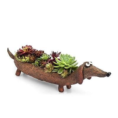 Rufus, Doxin Dog Planter, by Blobhouse, Decorative Planter w/Drain Hole Statue for Home Outdoor Garden Lawn & Indoor Art Accent Sculpture : Garden & Outdoor