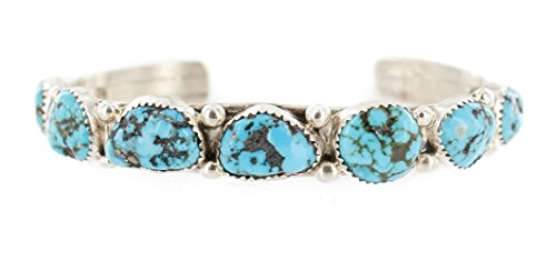 made Nuggets Authentic Silver Navajo Natural Turquoise Native American Bracelet ()