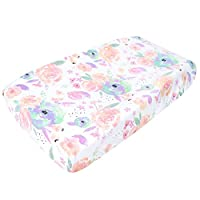 "Premium Cotton Diaper Changing Pad Cover ""Bloom Floral"" by Copper Pearl"