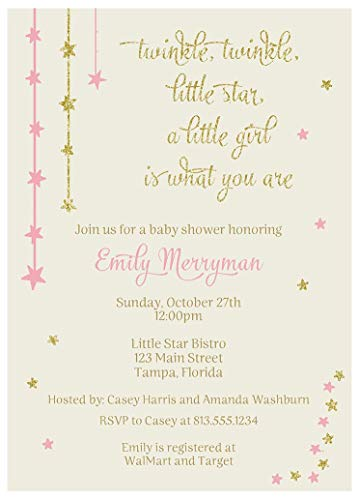 Twinkle Little Star Baby Shower Invitations Over The Moon Sprinkle Invites Wish Upon A Star Glitter Sparkle Girls Pink Gold It's A Girl Falling Star (10 Count)]()
