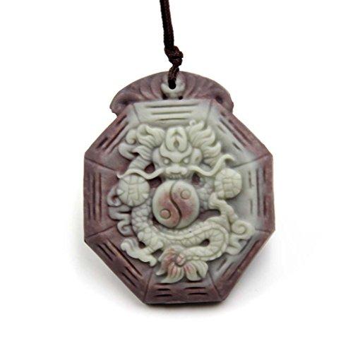 Green Purple Natural Stone Dragon Yin-yang 8-diagram Amulet Pendant 35 Mm Purple Dragon