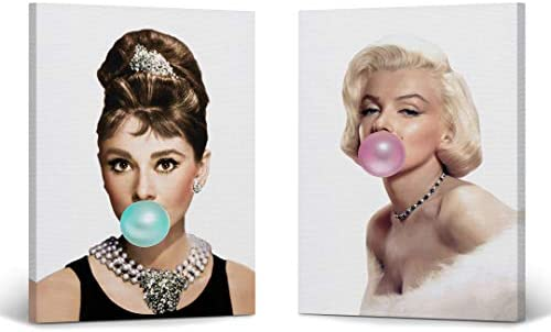 Audrey Hepburn and Marilyn Monroe Bubble Gum Chewing Gum Canvas Print Two-Piece Set/Home Decor/Icon Wall Art/Gallery Wrapped Canvas Art/Ready to Hang 36 x 24 x 2 Piece