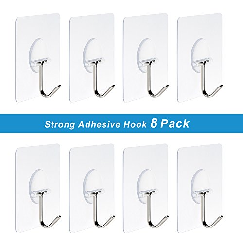 Heavy Duty Hooks 11 lb(Max) Transparent Reusable Seamless Hooks No Scratch Hooks ,Waterproof and Oilproof, Super Load for Bathroom Kitchen - Pack of 8 Photo #4