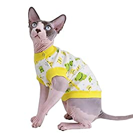Sphynx Cat Cute Breathable Summer Cotton T-Shirts Pet Clothes, Round Collar Green Frog Vest Hairless Cat Kitten Shirts, Cats & Small Dogs Apparel (Green Frog)