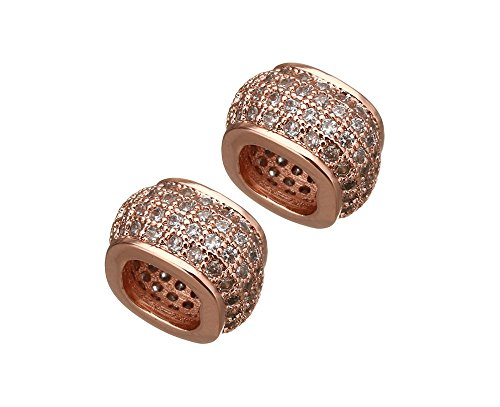 jennysun2010 Zircon Gemstones Cubic Zirconia Pave Big Hole Square Rondelle Bracelet Connector Beads Fit European Charm Clear on Rose Gold 2 pcs per Bag for Necklace Earrings Jewelry Making