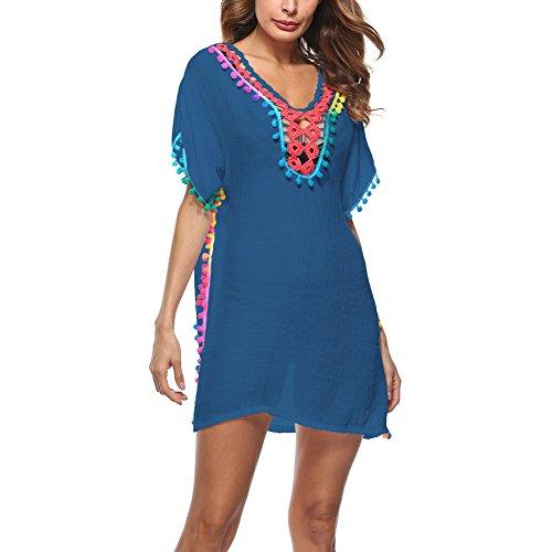 Oliveya Womens Blue Bohemian Ethnic Style Loose Fit Cap Sleeve Print Tunic Dress