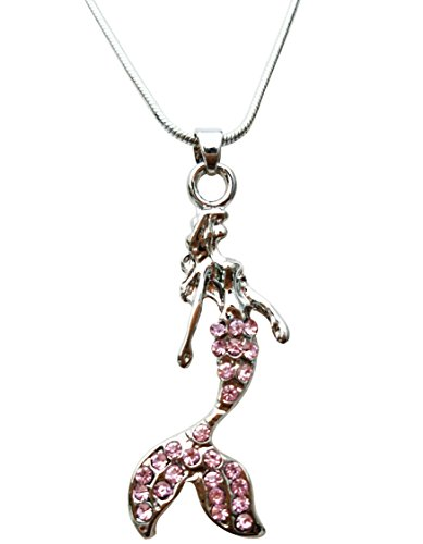Fairytale Mermaid Pendant Necklace by Malibu Sundry (Pink) (Fairy Pink Necklace)