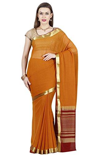 arars Women's Mysore Silk Sarees Shiffon Creape Free Size Mustard