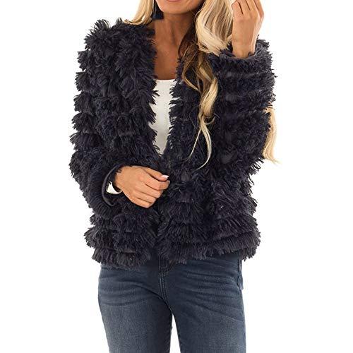 Seaintheson Winter Coat for Women, Women's Open Front Faux Fur Cardigan Vintage Parka Shaggy Jacket Casual Solid Outwear -