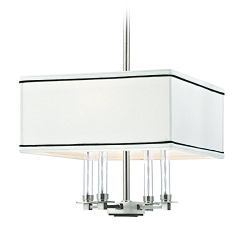 (Collins 4-Light Chandelier - Polished Nickel Finish - White with Black Trim Faux Silk)