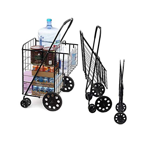 Portable Double Basket Heavy-Duty Folding Shopping Cart w/Front Swivel Wheels - Fits in Trunk OR Back Seat - Never Make Two Grocery Trips Again - (No Liner)