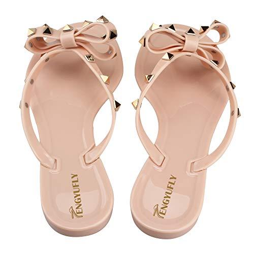 Jelly Summer Shoes Flat Pink Tengyufly Flip Rain Womens Flops Beige Beach Sandal Thong Rivets Bowtie Rubber vvXwqf