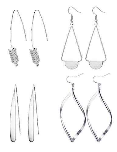 Hanpabum 4 Pairs Curved Threader Dangle Earrings for Women Girls Drop Hoop Bar Arrow Statement Earrings Set (Silver)