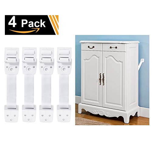 Adoric 4-Pack Anti-Tip Furniture Anchor / TV Straps Kits, Adjustable for All Flat Screens and Cabinets, Child/ Baby Proofing for Dresser Bookshelf, Mounting Hardware Included