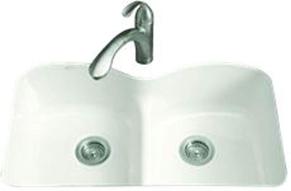 Kohler Langlade Smart Divide Undermount Kitchen Sink With Six Faucet Holes, White