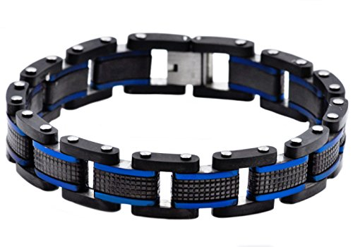 Blackjack Jewelry Polished Black and Blue Stainless Steel Textured Link Men's Bracelet by Blackjack Jewelry