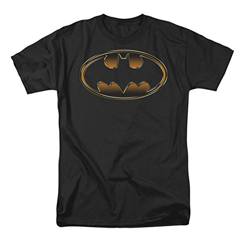 Trevco Men's Batman Black & Gold Embossed Shield Short Sleeve T-Shirt