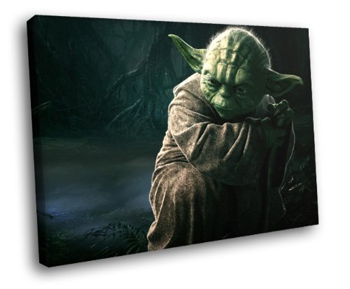 H5D8639 Yoda Master Jedi Star Wars Movie Art 20x16 FRAMED CANVAS PRINT