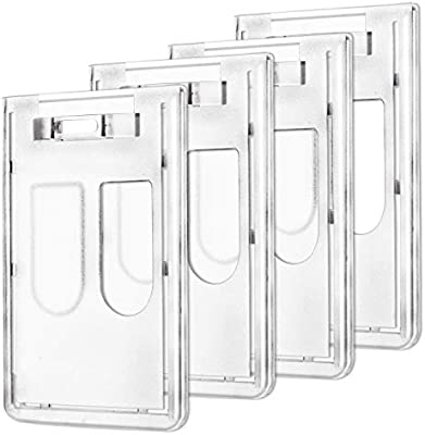 AIEX Porta Tarjetas Identificativas Vertical Funda Tarjeta Badge Holder para ID de trabajo/Tarjeta Metro/Tarjeta de Crédito(4 Piezas)