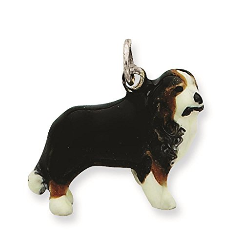 925 Sterling Silver Enameled Bernese Mountain Dog Charm Pendant