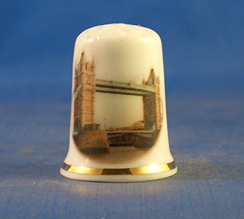 Porcelain Tower - Porcelain China Collectable Thimble - Tower Bridge London with Free Gift Box