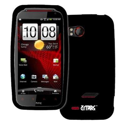EMPIRE Verizon HTC Rezound Noir Silicone Skin Case Étui Coque Cover Couverture + Voiture Chargeur (CLA)
