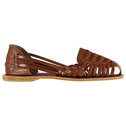 Slip Womens Leather Flat Tan Sandals Firetrap Heat On Epd4q