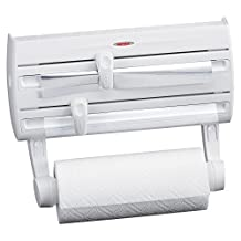 Leifheit 25771 4-in-1 Wall-Mount Paper Towel Holder | Plastic Wrap and Foil Dispenser with Spice Rack | White