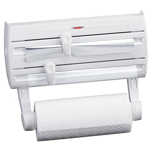 Leifheit Wall-Mount Paper Towel Holder with Plastic Wrap, Foil Dispenser and Spice Rack, White
