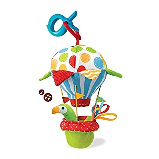 Stroller Activity Toy Musical Early Development Motion Activated Sound Effects With Clip On Attachment, Wind Chime Cute Kids Plush Animal with Teethers for 0 to 36 Months Boys Girls