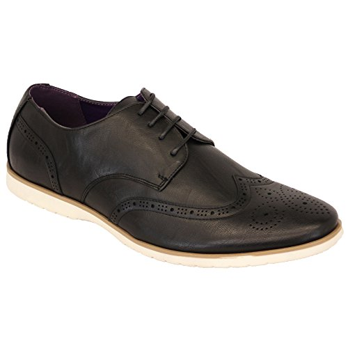 Hommes Allure Cuir Brogue À Lacets Pointus Habillé Chaussures Italiennes By Belide - Noir - M019, 44