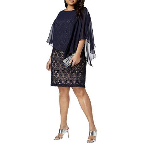(Connected Apparel Womens Plus Lace Chiffon Cocktail Dress Navy 22W)