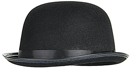 Gemvie Men Women Black Felt Bowler Derby Hat Magician Fancy Dress Hat (Fancy Dress Magician)