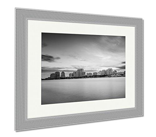 Ashley Framed Prints West Palm Beach Florida USA City Skyline On The Intracoastal Waterway, Wall Art Home Decoration, Black/White, 30x35 (frame size), Silver Frame, - Fl City Beach Palm Place