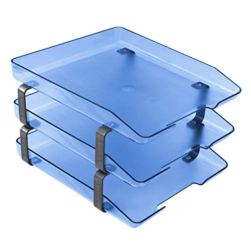 (Acrimet Traditional Letter Tray 3 Tier Frontal, Plastic Desktop File Organizer (Clear Blue Color))