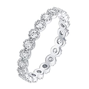 PAVOI 14K Gold Plated Rings Cubic Zirconia Band | Marquise Milgrain Eternity Bands | Gold Rings for Women