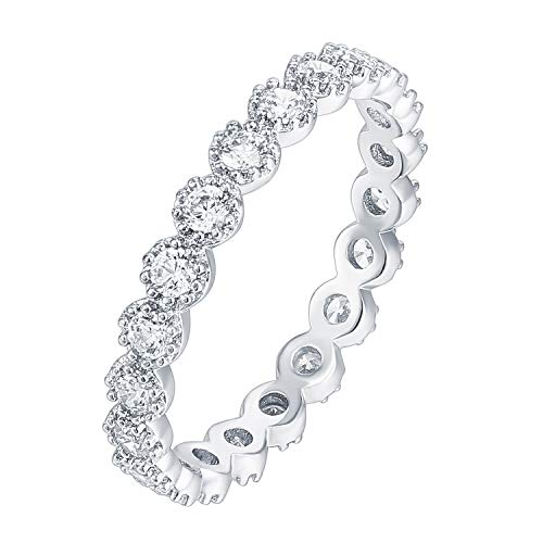 PAVOI 14K White Gold Plated Sterling Silver Rings Cubic Zirconia Band | Marquise Milgrain Eternity Bands | White Gold Rings for Women Size 5
