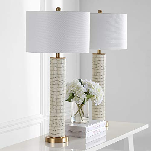 Safavieh Lighting Collection Ollie Cream Faux Snakeskin 31.5-inch Table Lamp (Set of 2)
