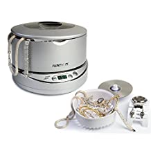 Ivation Digital Ultrasonic Cleaner IVUC96S, with Adjustabll Wide Tank, Jewee Power, Removable 17-ounce Stainless Steelry Basket, Watch & Earring Holder, CD DVD Stand, 5 Individual Cleaning Cycles & Auto-Shut-off - Silver