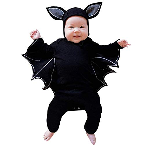 BELS Baby Girl Boy Halloween Clothes Black Bat Costume Cloak Romper with Hat Outfit (Black1, 80/6-12M)