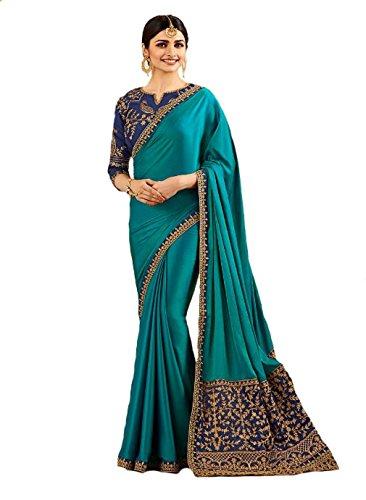 Indian Ethnic Bollywood Saree Party Wear Pakistani Designer Sari Wedding, Saree for Womens (Sky Blue)