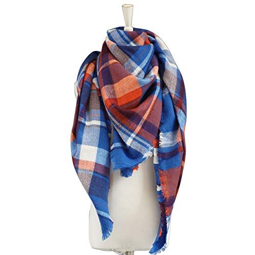 Dora Bridal Lady Women Blanket Oversized Tartan Scarf Wrap Shawl Plaid Cozy Checked Pashmina (One Size, Blue and Red)