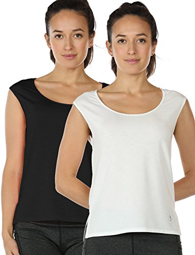 icyzone Yoga Tops Activewear Sleeveless Workout Running Shirts Flowy Tank Tops for Women (S, Black/White)