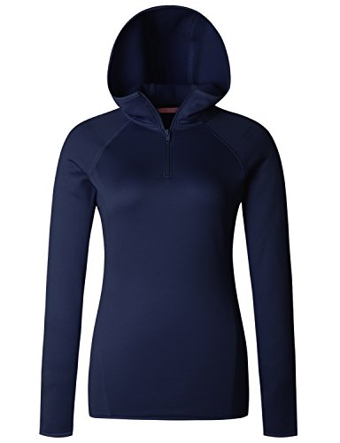 - Regna X Love Coated Women Funnel Thermal Fleece Lined Sweatshirts Navy L