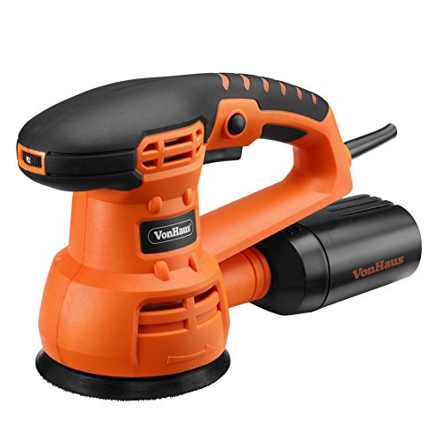 VonHaus 5-inch Random Orbital Sander/Polisher with Variable Speed and Accessories Kit - 9 Sanding Pads, 3 Polishing Pads and Dust Extractor