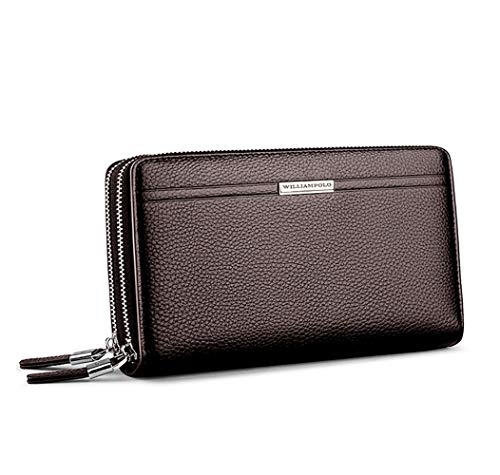 WilliamPOLO Genuine Leather Big Wallet Mens Large Capacity Long Clutch Handbag Double Zipper Casual with Wrist Band (Brown, Small)
