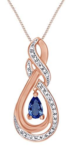 Diamond Blue Sapphire Teardrop Pendant - 8