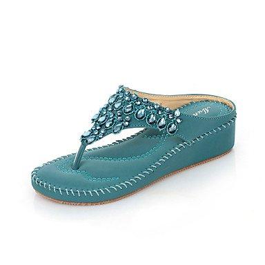 LvYuan Tacón Cuña-Confort Zapatos del club-Sandalias-Oficina y Trabajo Vestido Informal-PU-Azul Morado Almendra almond