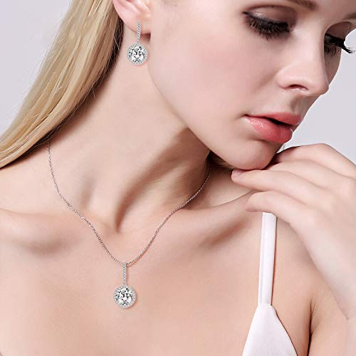 EVER FAITH 925 Sterling Silver CZ Gorgeous Round Cut Wedding Pendant Necklace Earrings Set 2